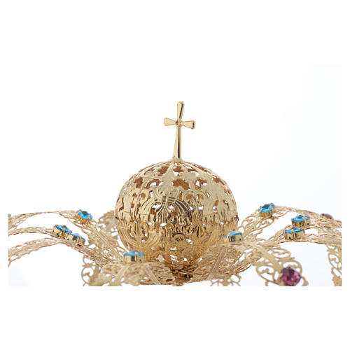 Our Lady Imperial Crown in Golden Brass - Colored Strass with Cross 3
