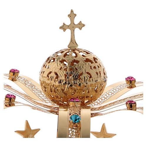 Krone Madonna vergoldete Messing - Sterne gefarbte Kristalle 3