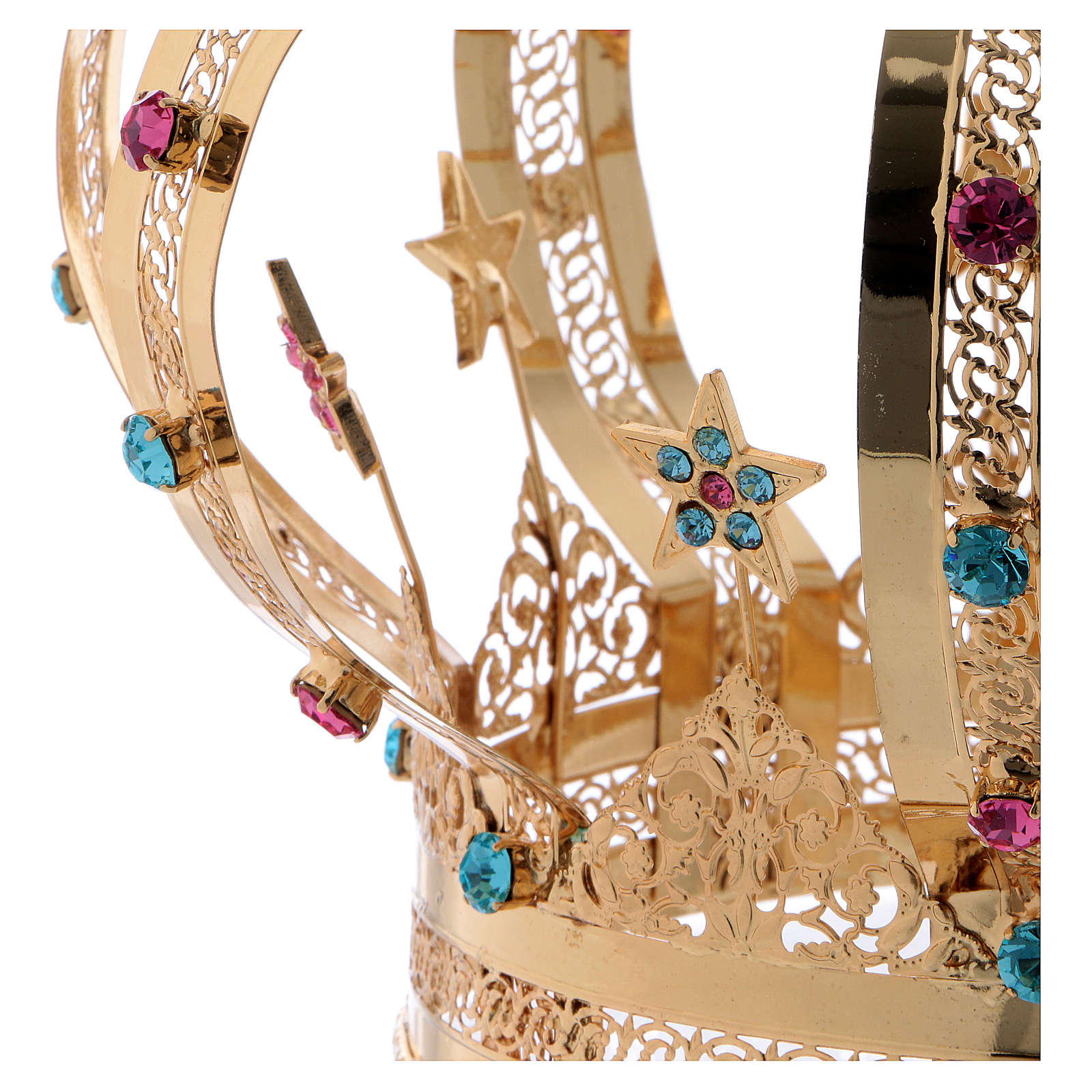 Our Lady crown golden brass - colored strass stars 3