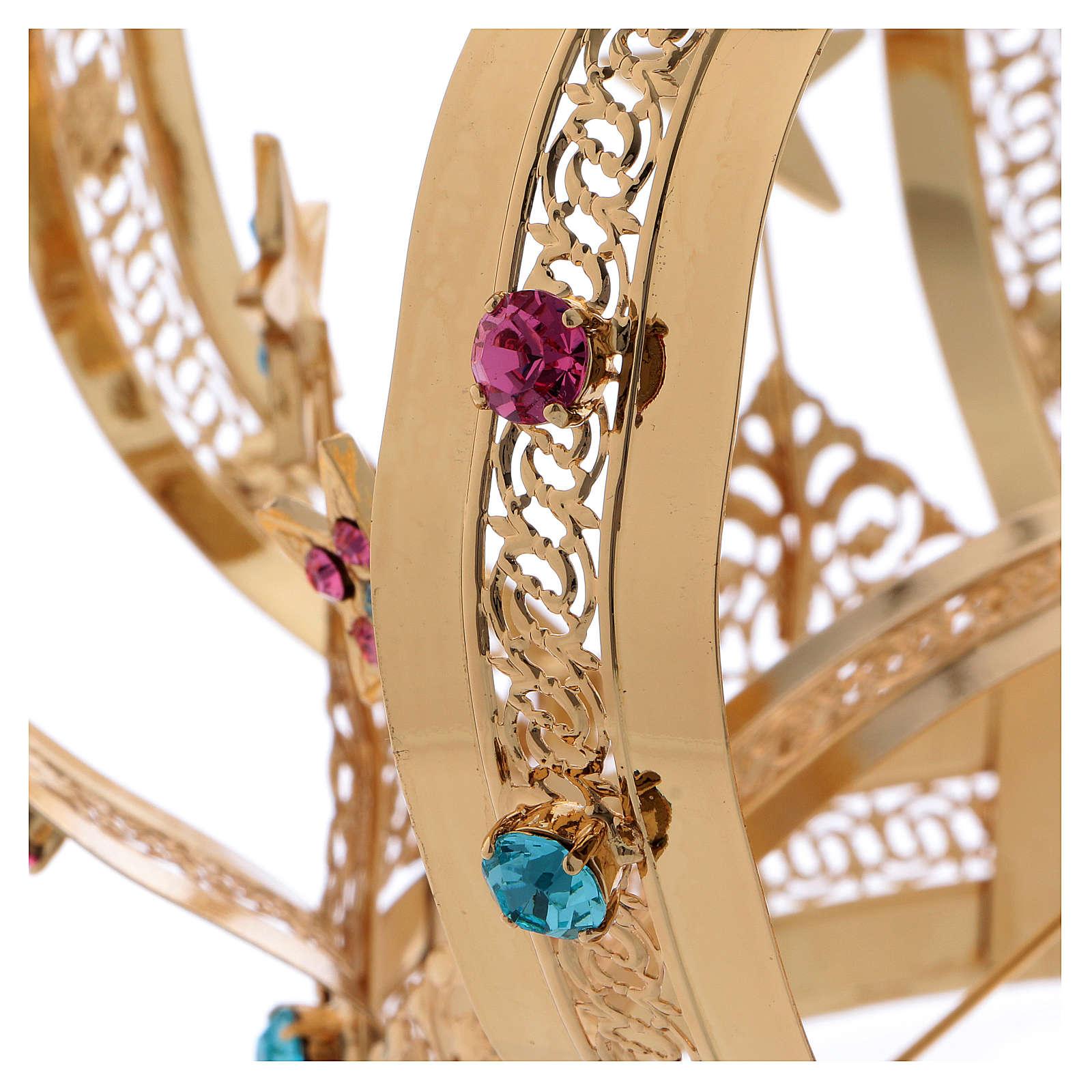 Corona Madonna ottone dorato - stelle strass colorati 3