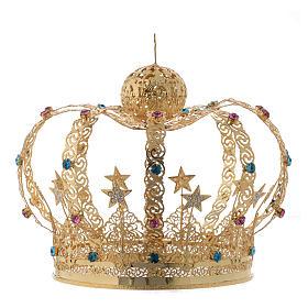 Corona Madonna ottone dorato - stelle strass colorati s2