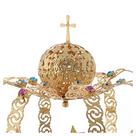 Corona Madonna ottone dorato - stelle strass colorati s3