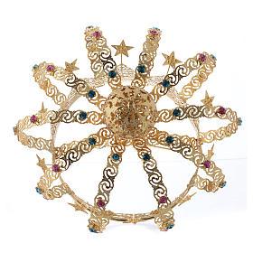 Corona Madonna ottone dorato - stelle strass colorati s4