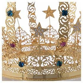Corona Madonna ottone dorato - stelle strass colorati s5