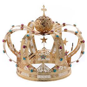 Corona Madonna ottone dorato - stelle strass colorati s1