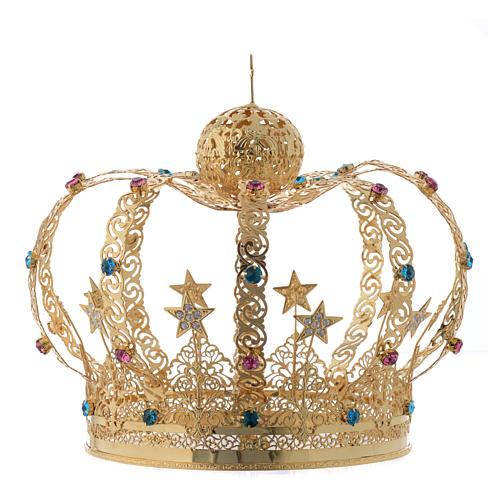 Corona Madonna ottone dorato - stelle strass colorati 2