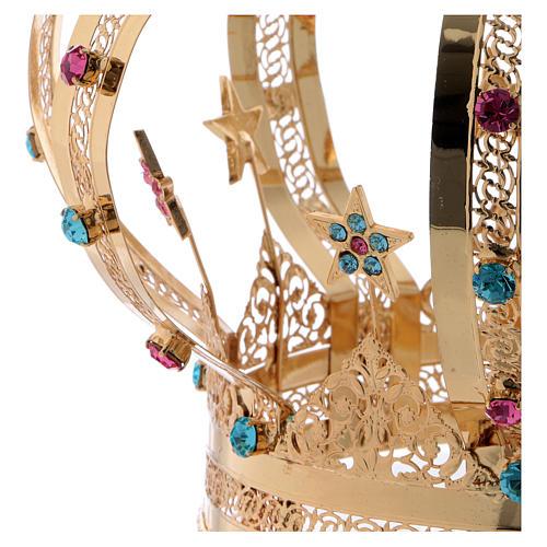 Corona Madonna ottone dorato - stelle strass colorati 5