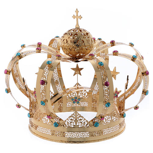 Korona Matki Boskiej mosiądz pozłacany gwiazdy stras kolorowy 1