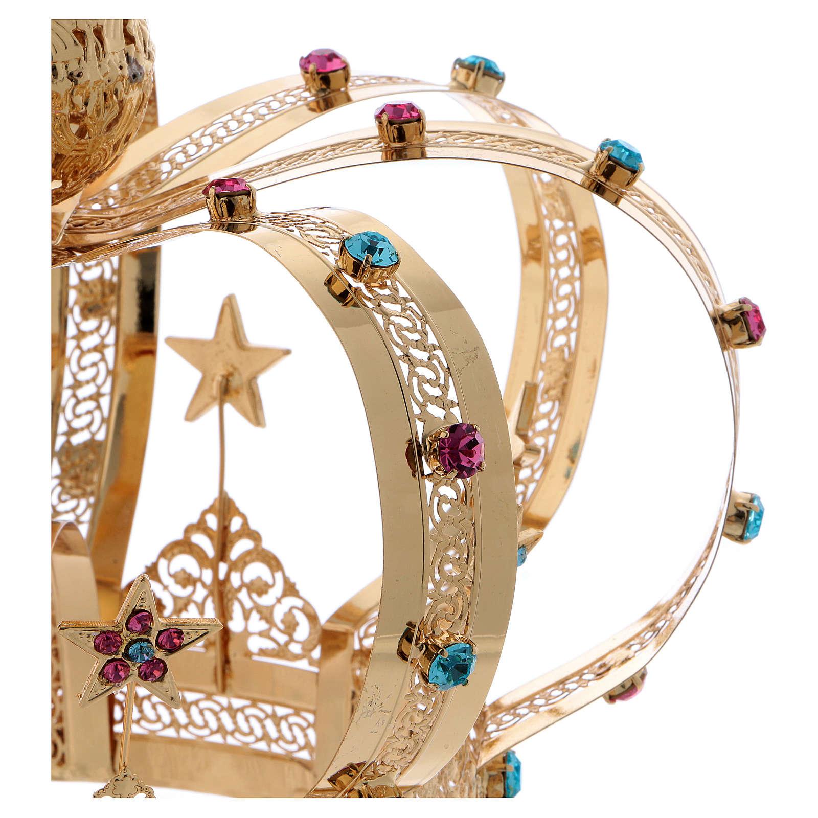 Coroa Virgem latão dourado estrelas strass corados 3