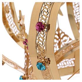 Coroa Virgem latão dourado estrelas strass corados s2