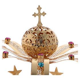 Coroa Virgem latão dourado estrelas strass corados s3