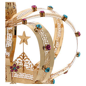 Coroa Virgem latão dourado estrelas strass corados s4