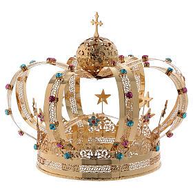 Coroa Virgem latão dourado estrelas strass corados s6
