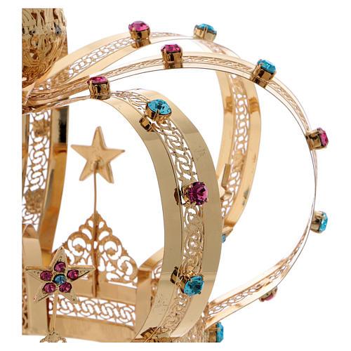 Coroa Virgem latão dourado estrelas strass corados 4