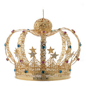 Our Lady crown golden brass - colored strass stars s2
