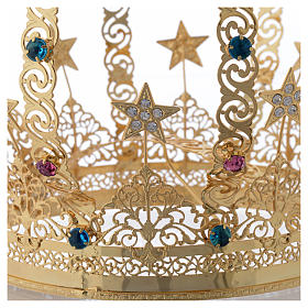 Our Lady crown golden brass - colored strass stars s5