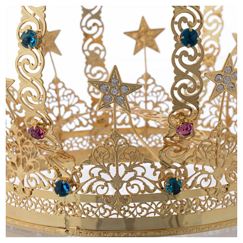 Our Lady crown golden brass - colored strass stars 5