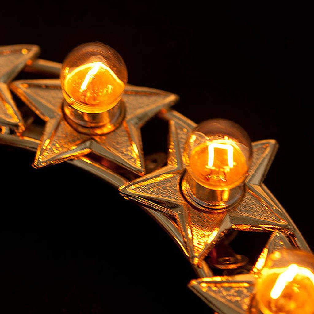 Aureola con estrellas bombillas latón dorado 3