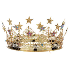 Crowns and halos for religious statues: Crown stars and colored strass golden brass