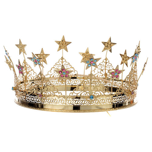 Crown stars and colored strass golden brass 1