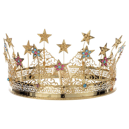 Crown stars and colored strass golden brass 2