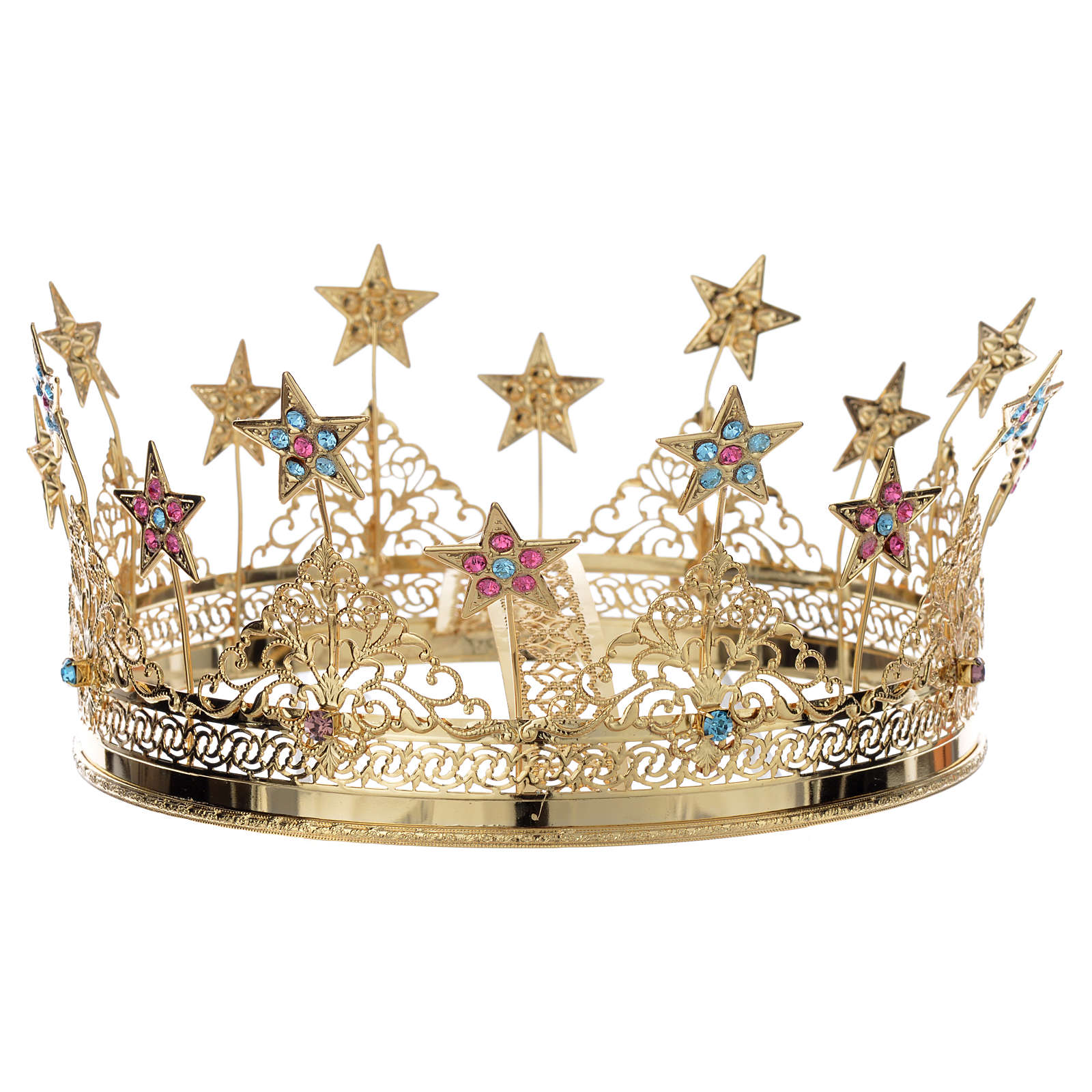Corona ottone dorato strass colorati e stelle 3