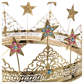 Corona ottone dorato strass colorati e stelle s4