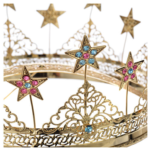 Corona ottone dorato strass colorati e stelle 4