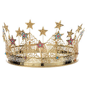 Star Crown with colored strass in golden brass s2