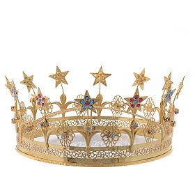 Corona Virgen latón dorado y filigrana s1