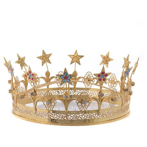 Corona Virgen latón dorado y filigrana 1