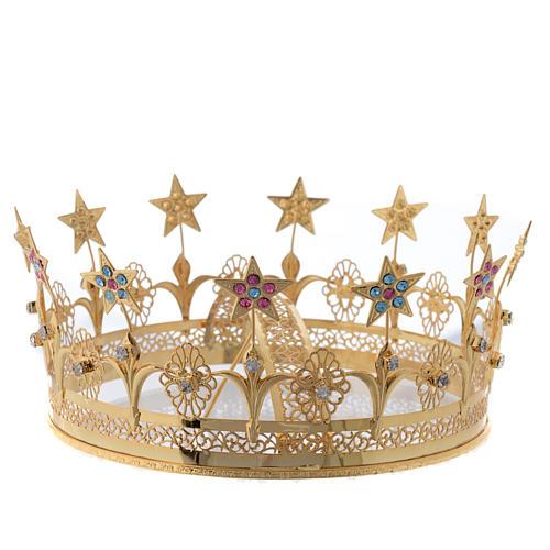 Corona Virgen latón dorado y filigrana 2