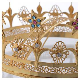 Coroncina Madonna ottone dorato filigranato s3