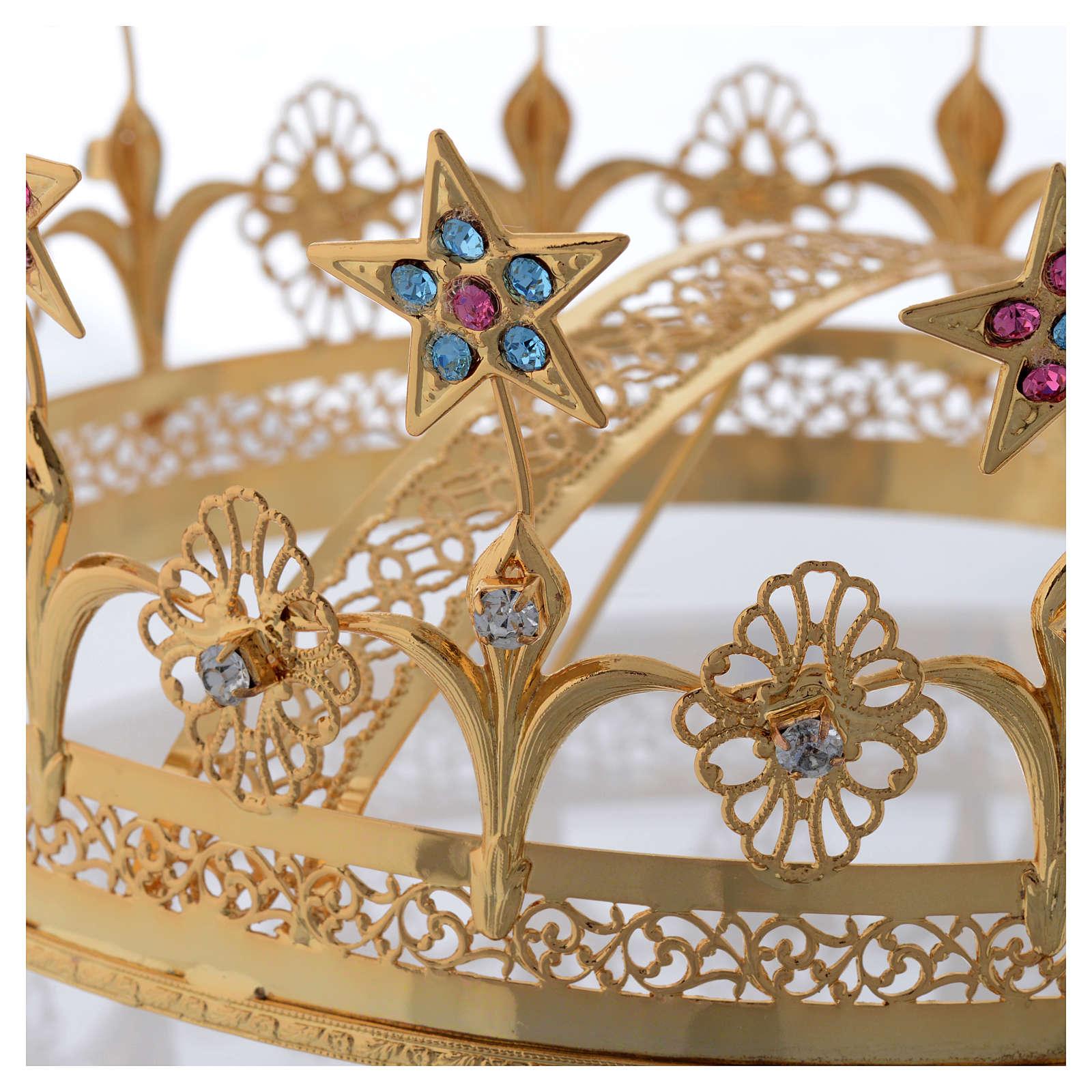 Virgin Mary Star Crown in Golden Brass Filigree 3