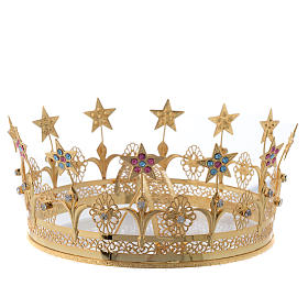 Virgin Mary Star Crown in Golden Brass Filigree s2