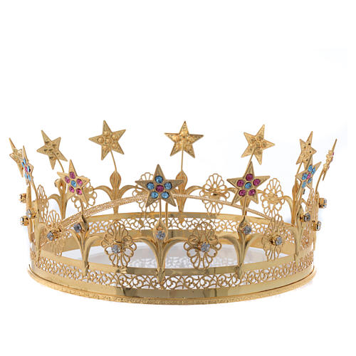 Virgin Mary Star Crown in Golden Brass Filigree 1