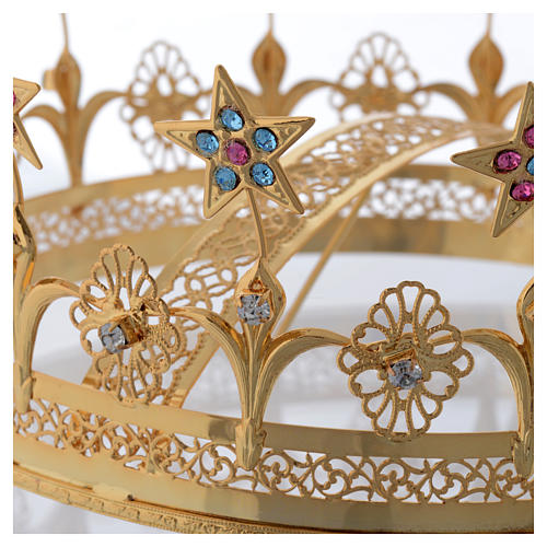Virgin Mary Star Crown in Golden Brass Filigree 3