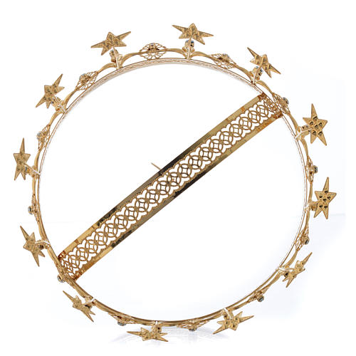Virgin Mary Star Crown in Golden Brass Filigree 4