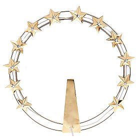 Luminous halo in gilded brass with LED, 30 cm dia s1