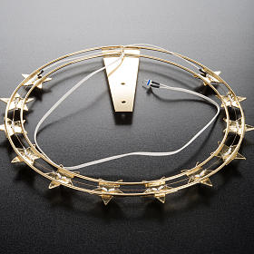 Luminous halo in gilded brass with LED, 30 cm dia s6