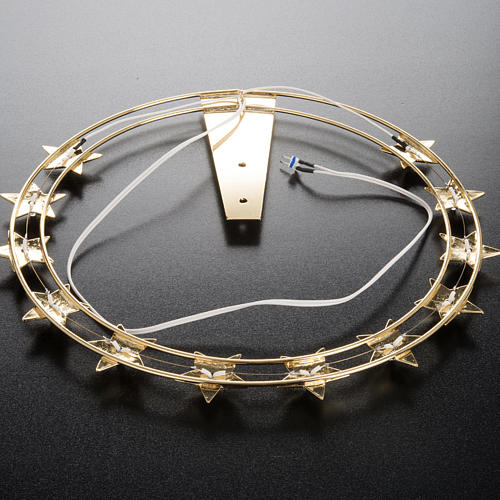 Luminous halo in gilded brass with LED, 30 cm dia 6