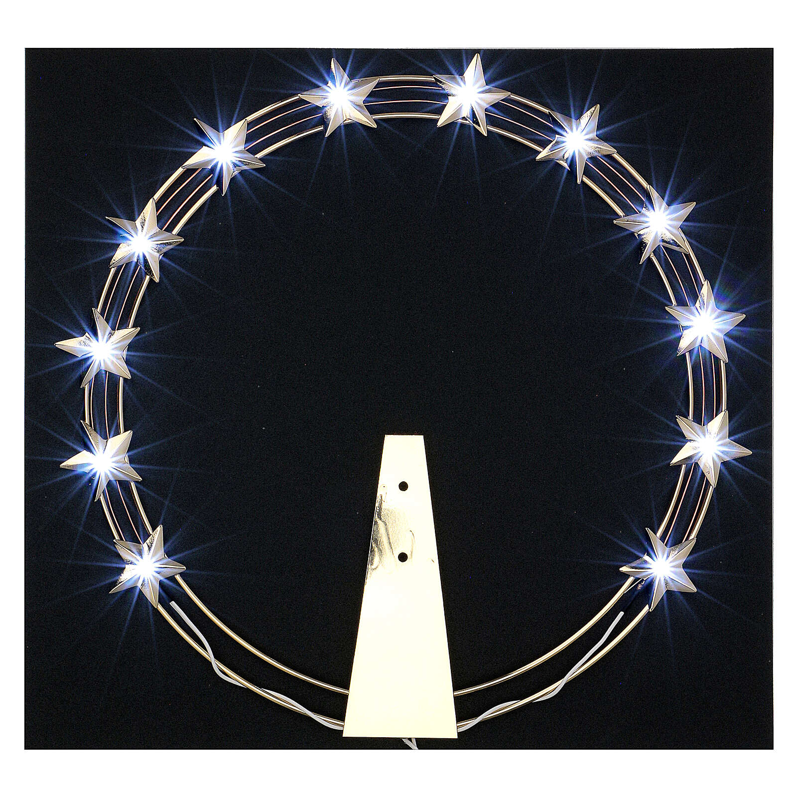 Luminous Starry Halo in Gilded Brass with LEDs, 30 cm diameter 3