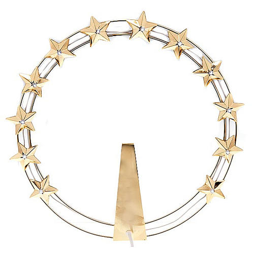 Luminous Starry Halo in Gilded Brass with LEDs, 30 cm diameter 1