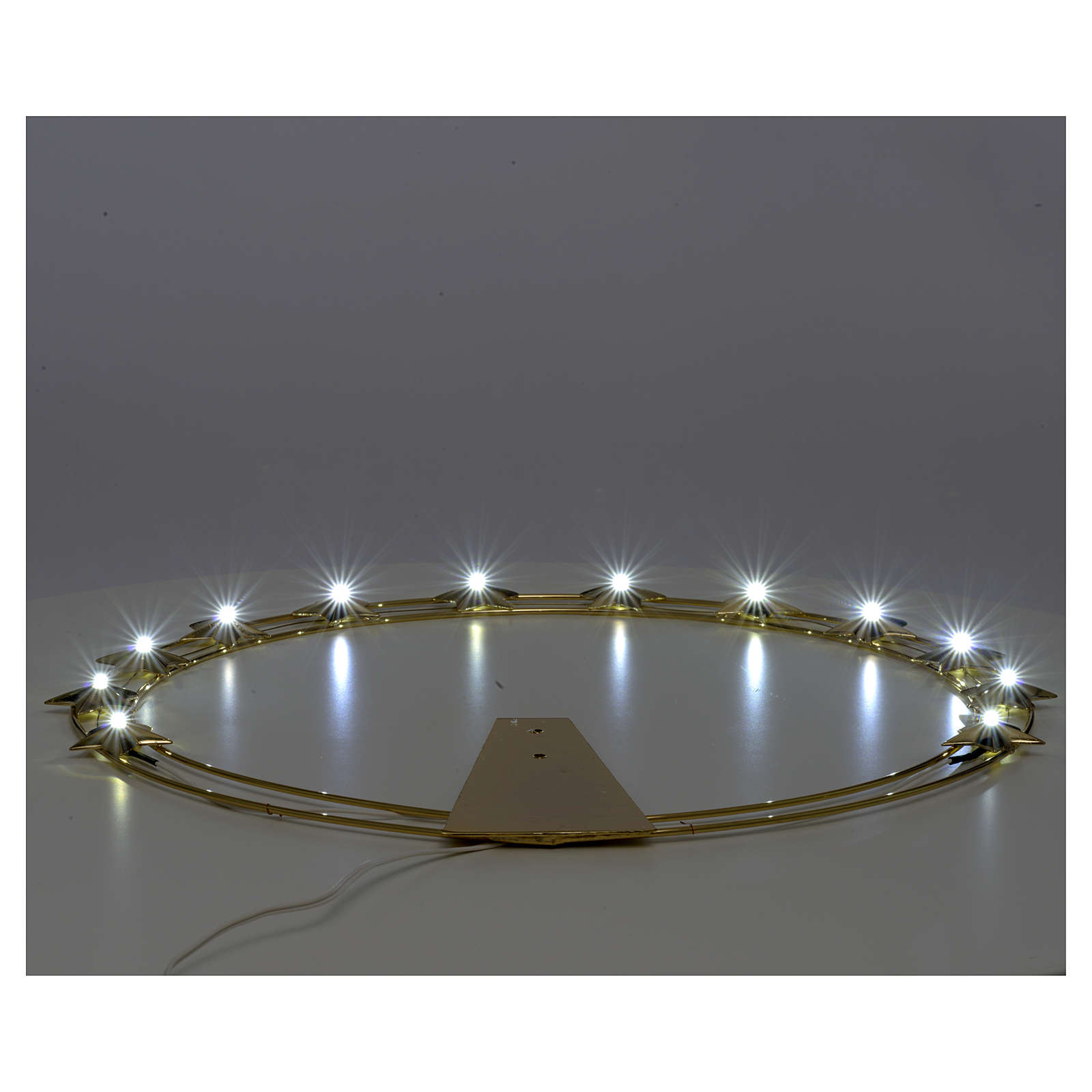 Luminous halo in gold-plated brass with LED lights 3
