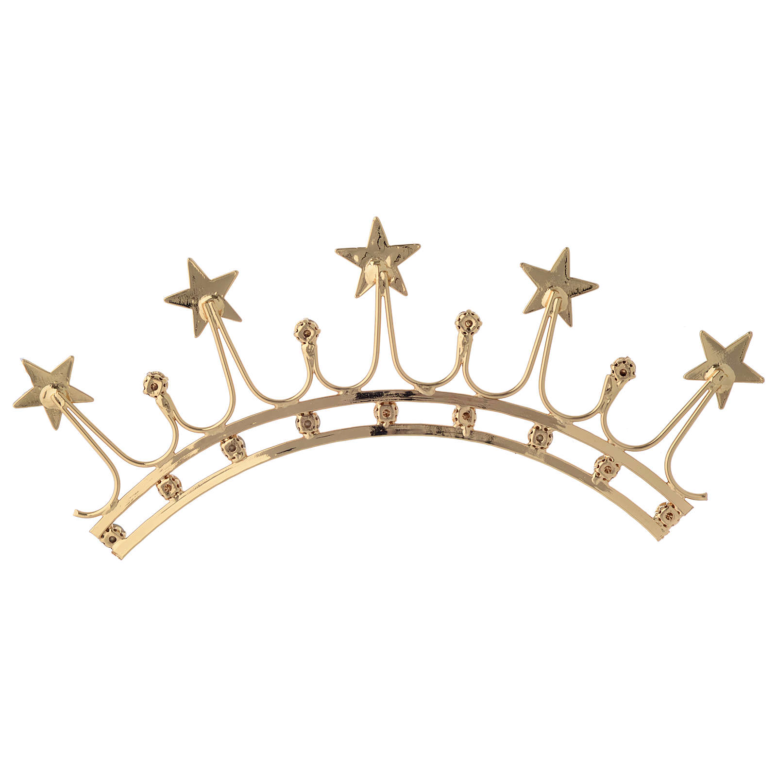 Crown for statues in gold plated filigree and color stones 3