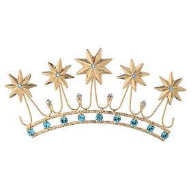 Crown for statues in gold plated filigree and color stones s1