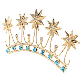 Crown for statues in gold plated filigree and color stones s3