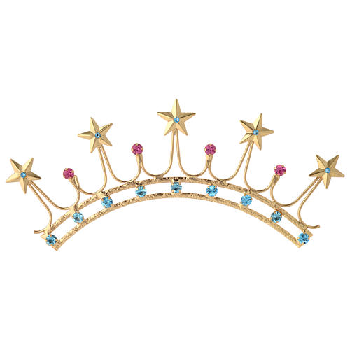 Crown for statues in gold plated filigree and color stones 1