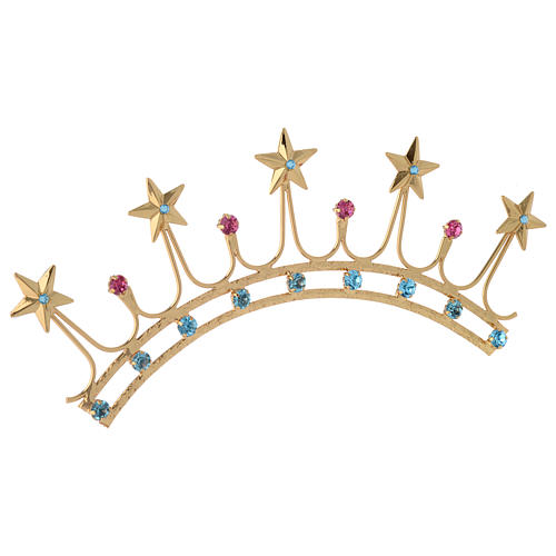 Crown for statues in gold plated filigree and color stones 4