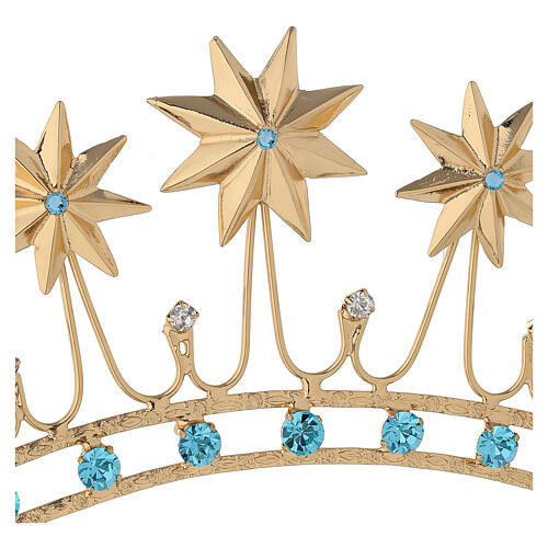 Crown for statues in gold plated filigree and color stones 6